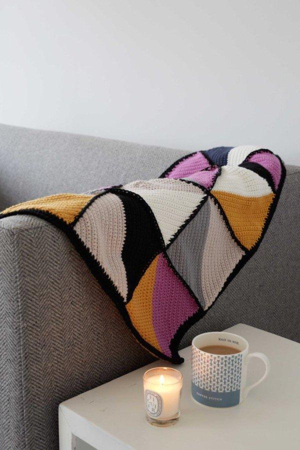 modern, debbie bliss, triangle, blanket, mid-century, rialto DK