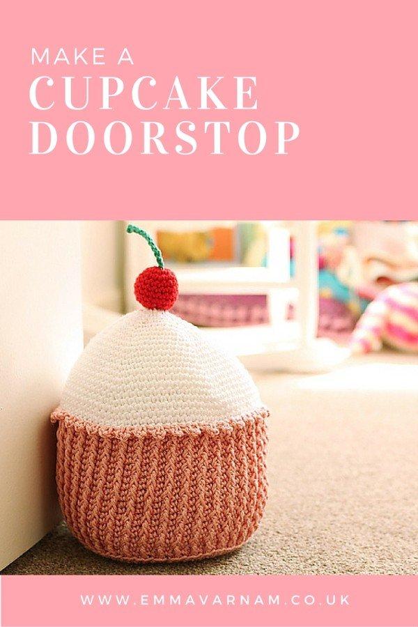 cupcake, crochet, doortstop, nursery,