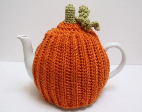 pumpkin, crochet, tea, cosy, cozy